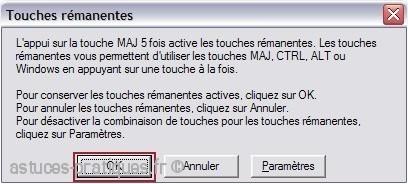 combinaison de touche pour desactiver touche maj