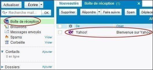 Lire et écrire un mail sur Yahoo mail