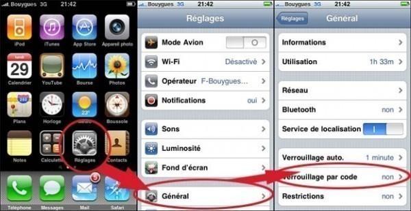 Mettre un code de verouillage sur iphone