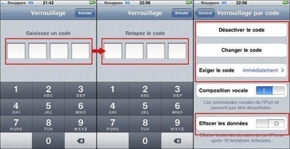 mettre un code de verouillage sur iphone 1