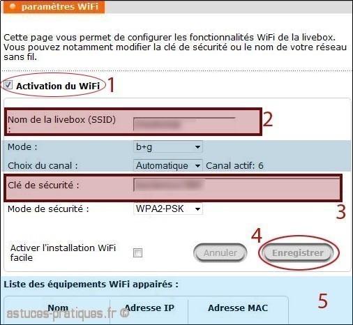 parametrage wifi sans fil de la livebox mini 1