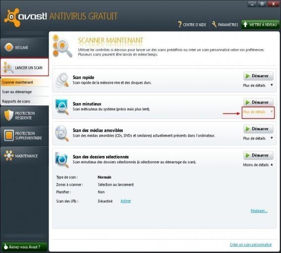 Planifier un scan minutieux avec Avast