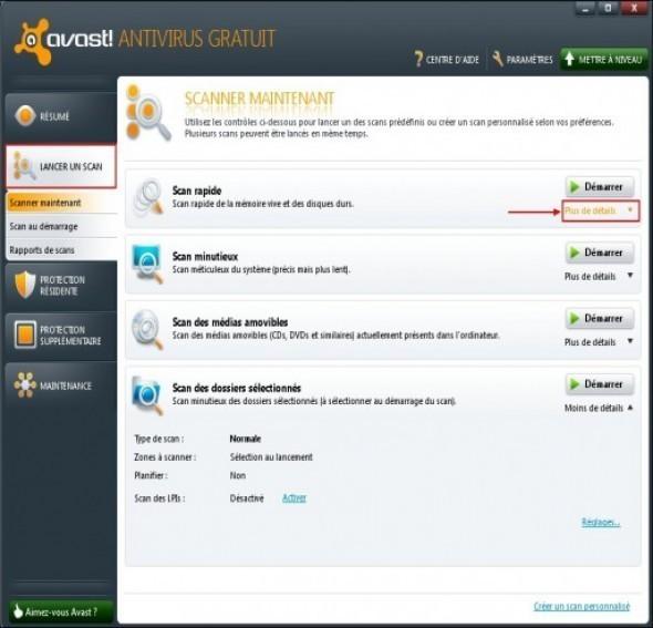 Planifier un scan rapide avec Avast