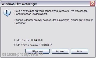 Problème de connexion à msn erreur 80048820