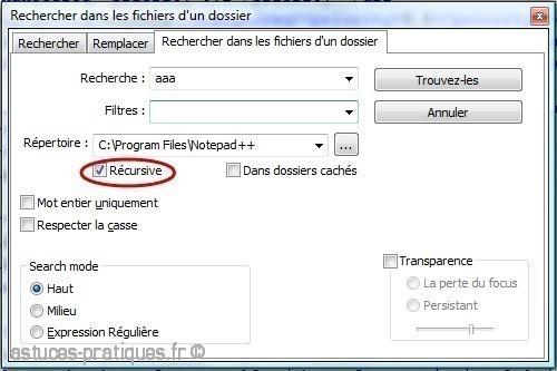 recherche et remplacement de mots dans notepad plus plus 3