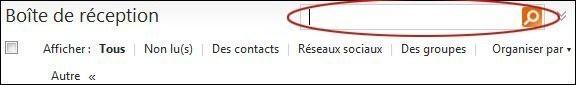Rechercher un mail dans votre boîte Hotmail