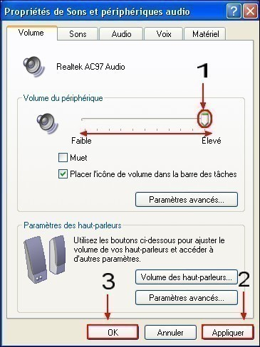 regler le volume du son sous xp 2