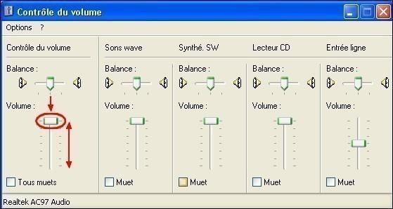 regler le volume du son sous xp 4