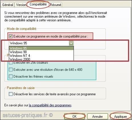 rendre un logiciel compatible sur xp 1