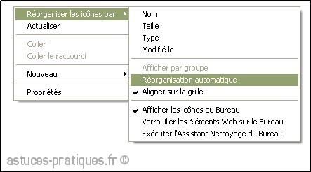 réorganisation automatique des icones sur xp