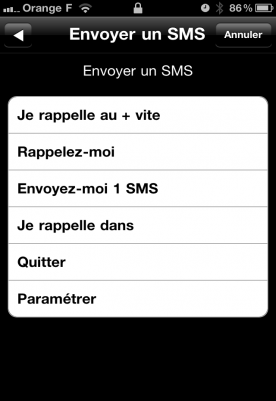 reponse par sms lors des appel sur iphone orange 0