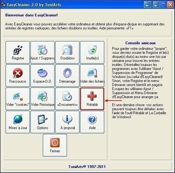 Restaurer le registre avec EasyCleaner