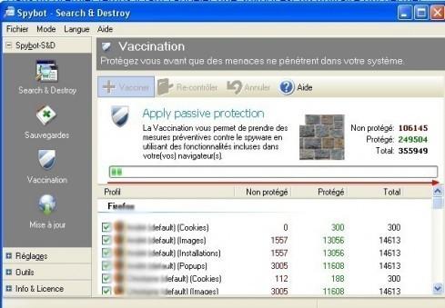 spybot vaccination des navigateurs internet contre les logiciels espions 4