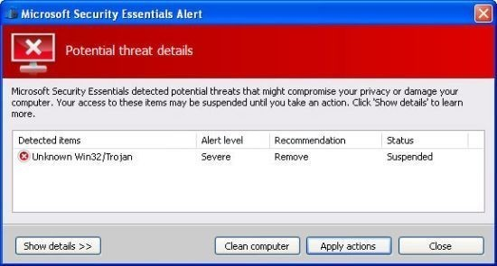 supprimer et se debarasser de microsoft security essentials alert 0