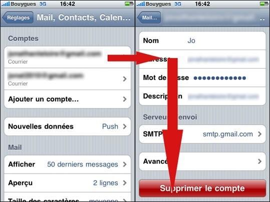 supprimer un compte mail sur iphone 1