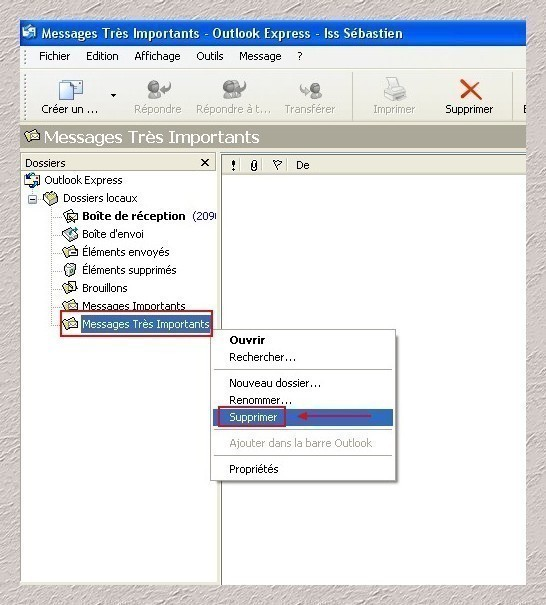supprimer un dossier local sous outlook express 0