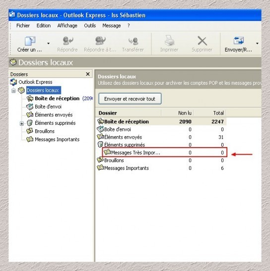 supprimer un dossier local sous outlook express 2