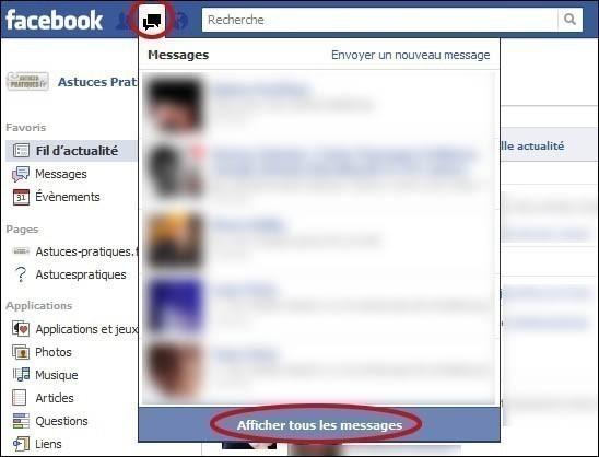 supprimer un message dans une conversation facebook