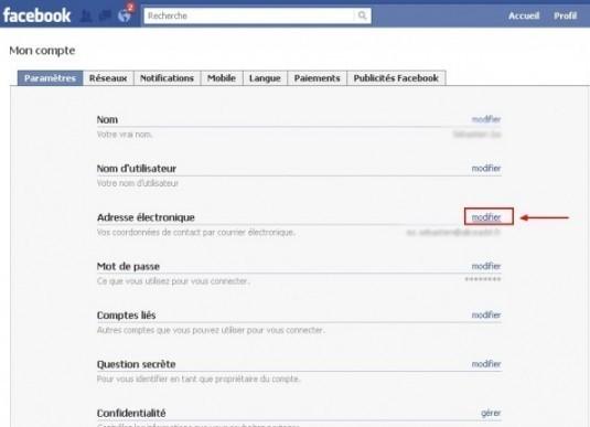 supprimer une adresse email sur facebook 1