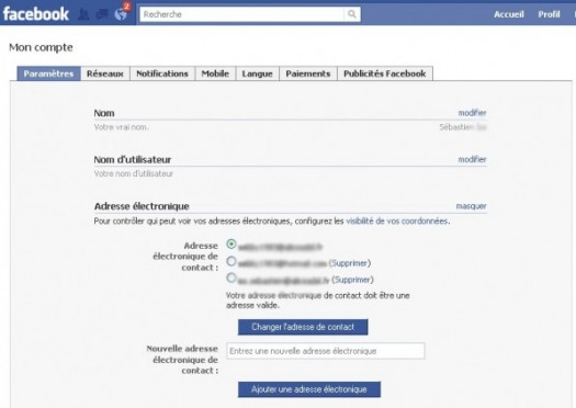 supprimer une adresse email sur facebook 2