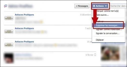 supprimer une conversation facebook 2