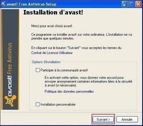 telecharger et installer l antivirus avast 6