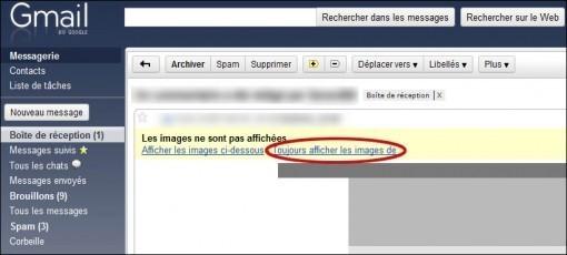 toujours afficher les images des mails sur gmail 0
