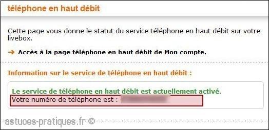 trouver le numero de telephone de la livebox mini 1