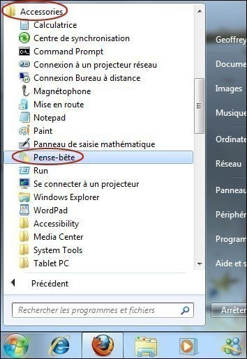 utiliser le pense bete sur windows 7 0