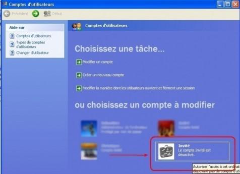 windows xp activer le compte invite 2