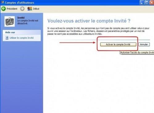 windows xp activer le compte invite 3