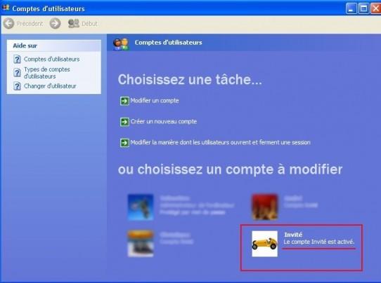 windows xp activer le compte invite 4