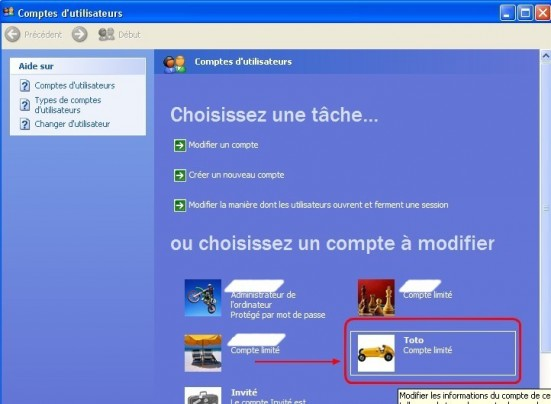 windows xp comptes utilisateurs creer un mot de passe 2