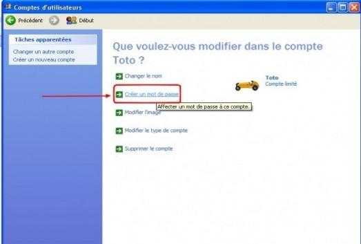 windows xp comptes utilisateurs creer un mot de passe 3