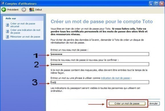windows xp comptes utilisateurs creer un mot de passe 4
