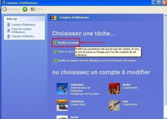 Windows xp comptes utilisateurs supprimer un mot de passe for Fenetre windows xp