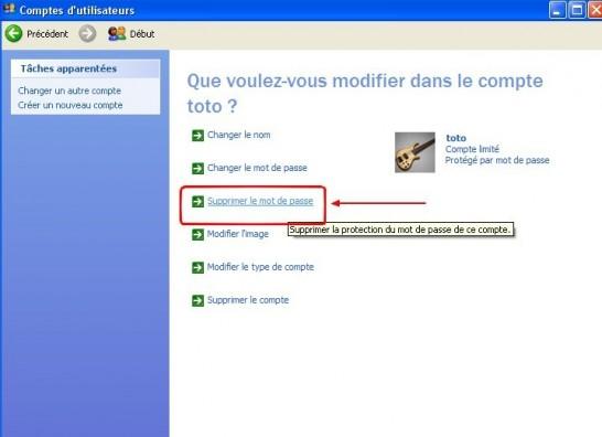 windows xp comptes utilisateurs supprimer un mot de passe 4