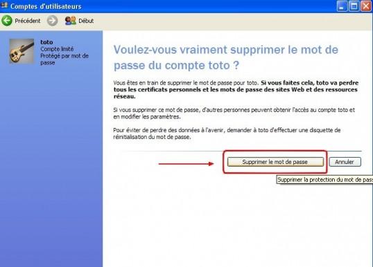 windows xp comptes utilisateurs supprimer un mot de passe 5
