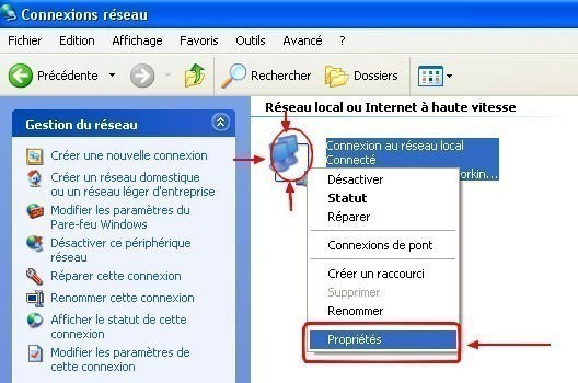 windows xp configurer une connexion en ip statique 2