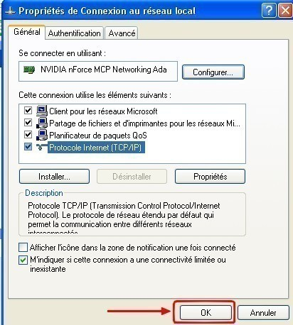windows xp configurer une connexion en ip statique 5