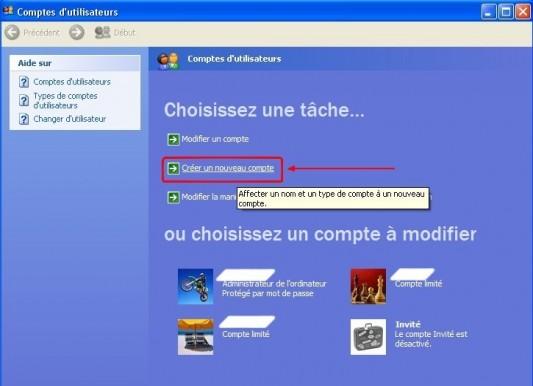 windows xp creer un compte utilisateur 2