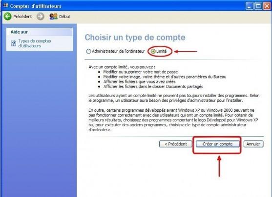 windows xp creer un compte utilisateur 4