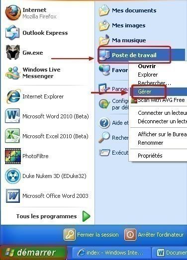 Windows XP faire une défragmentation du disque dur.