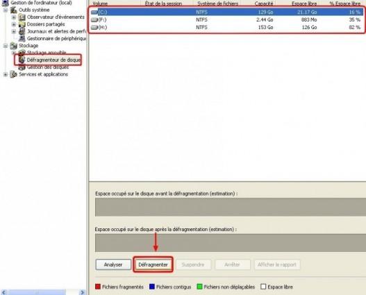 windows xp faire une defragmentation du disque dur 1