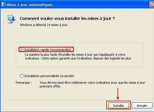 windows xp installer les mises a jour de securite 1