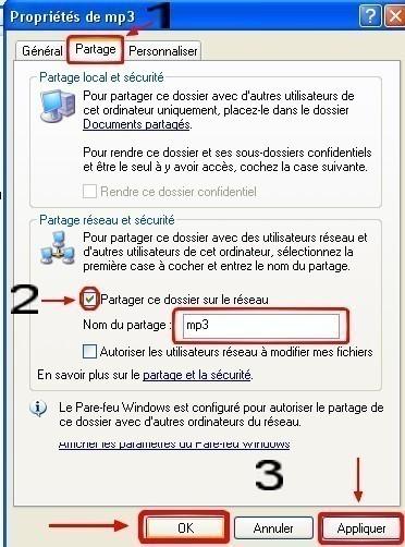 windows xp partager un dossier dans un reseau local 2