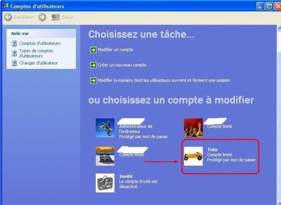 Windows xp supprimer un compte utilisateur for Fenetre windows xp