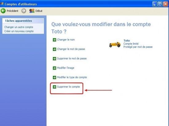 windows xp supprimer un compte utilisateur 3