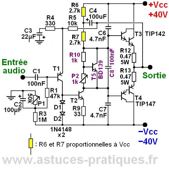 Ampli simple 50W a 200W classe AB schema 1