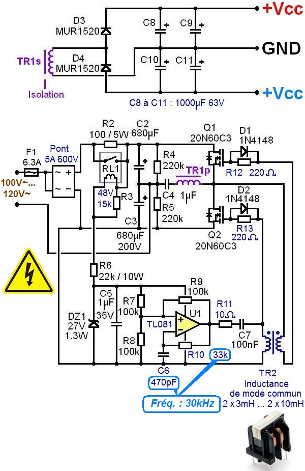 Alimentation à découpage 120V pour ampli audio